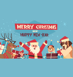 merry christmas and happy new year poster with vector image