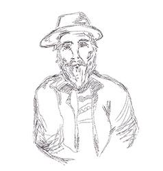 Old man sketch hand drawn vector image