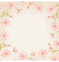 Pink daisy flowers border design element vector image vector image