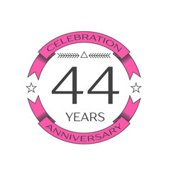 Realistic forty four years anniversary celebration vector