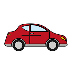 Red car sedan vehicle transport vector