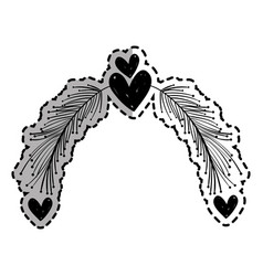 Rustic feathers with hearts decoration design vector