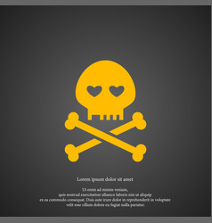 Skull icon simple romance element valentine vector