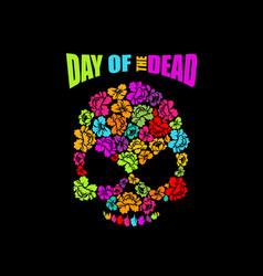 skull of flowers for day of the dead skeleton vector image