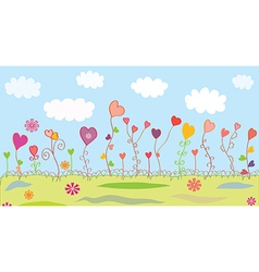 Summer floral background with hearts vector image