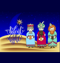 three kings for christian christmas holiday design vector image