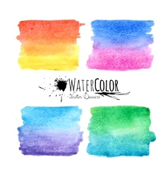 Watercolor textured paint stains colorful set vector