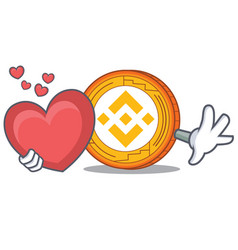 With heart binance coin mascot catoon vector