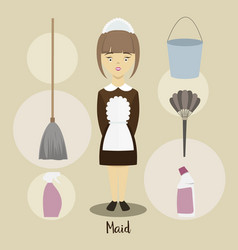 Young beautiful maid vector