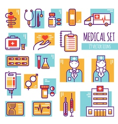 Medical decorative line icons set vector