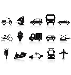 black transportation icons set vector image