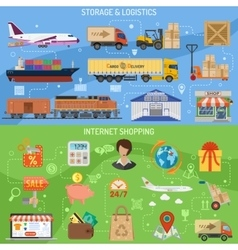 Storage logistics and shopping banners vector