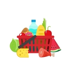 Shopping basket with grocery products full of vector image