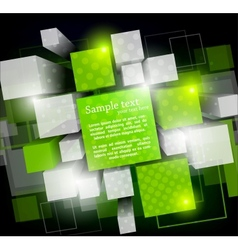 Background with green cubes vector