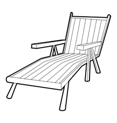 Beach chaise lounge icon isometric 3d style vector