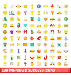 100 winning and success icons set cartoon style vector image