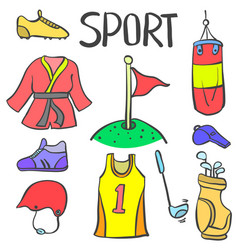 doodle of sport equipment various style vector image