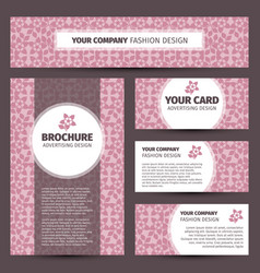 pink floral pattern corporate identity design vector image
