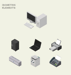 isometric office set of printing machine computer vector image