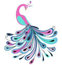 peacock with colorful feathers vector image