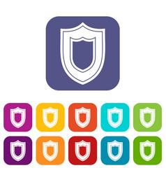 Shield icons set vector