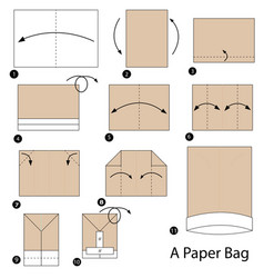 Step instructions how to make origami a paper bag vector