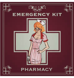 emergency kit poster vector image