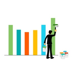 businessman painting graph vector image