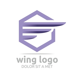 Logo icon wing hexagon purple design symbol icon vector