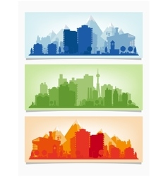 Horizontal banners of cityscape urban vector