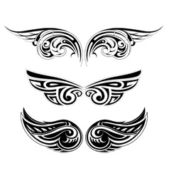 Ethnic wing tattoo set vector