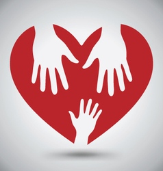 Two helping hands on red heart vector