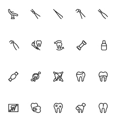 Dental line icons 5 vector