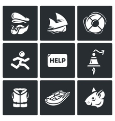 Set of shipwreck icons captain ship vector