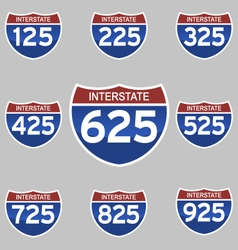 Interstate signs 125-925 vector