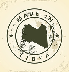 Stamp with map of libya vector