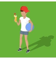 Concept picnic boy with ball and juice vector