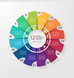 Circle infographic 12 options vector