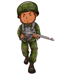 A brave soldier holding a gun vector