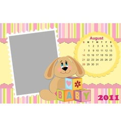 Babys monthly calendar for august 2011s vector image