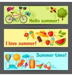 Banners with stylized summer objects design for vector