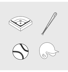 Baseball ball field bat hat vector