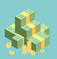 Big stacked pile of cash hundreds of dollars flat vector