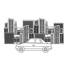 Black silhouette of city buildings and car vector