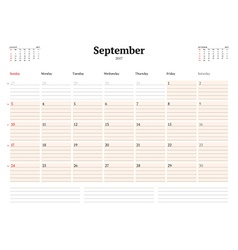 Calendar template for 2017 year september business vector