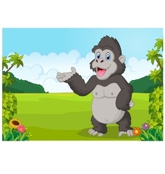 Cartoon gorilla waving vector