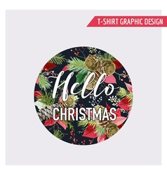 Christmas Pine Tree and Flowers Graphic Design vector image