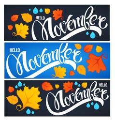 collection of hello november welcome season vector image vector image