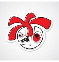 colored cartoon sticker face vector image