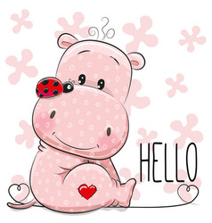 cute cartoon hippo vector image
